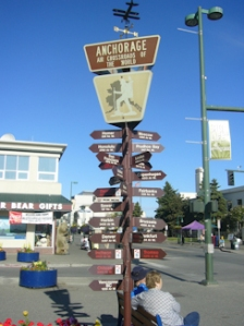 Sign giving mileage to various places from Anchorage