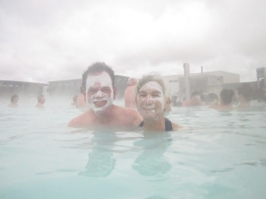 Jim and Kenna, wearing silica mud, in the Blue Lagoon