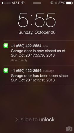 Text messages from garage door minder