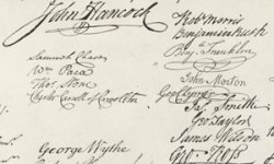 Some signatures from the Declaration of Independence