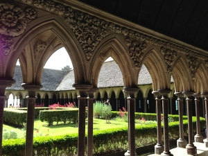 Cloister and garden at the Mont Saint Michel abbey