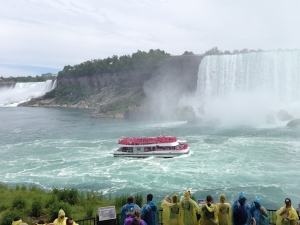 Hornblower tour boat approaching Falls