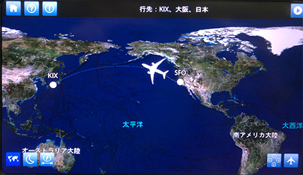 Flight map, SFO/KIX