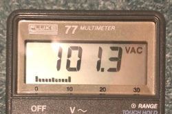 Voltmeter showing 101.3V